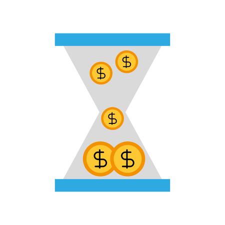 Reloj de cristal de negocios con dinero dólar monedas ilustración de vector de tiempo Foto de archivo - 86319193