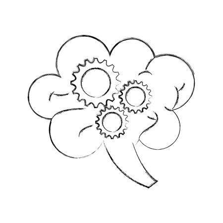 human brain and gear business work team creativity concept vector illustration Zdjęcie Seryjne - 86319255