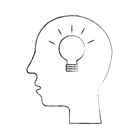 silhouette human head creativity idea solution innovation vector illustration 向量圖像