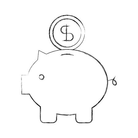 piggy coin dollar money bank safety investment symbol vector illustration Çizim