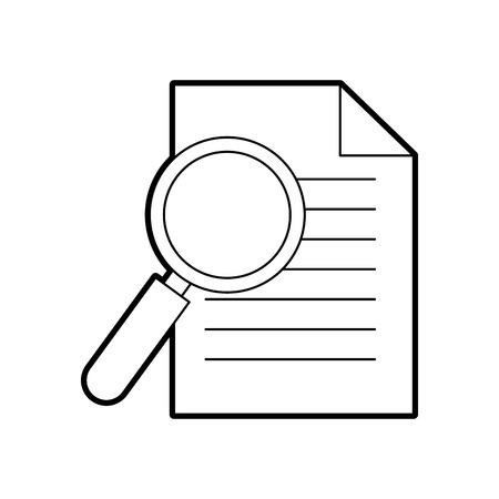 kantoor zakelijke papier en vergrootglas werk afbeelding vector illustratie Stock Illustratie