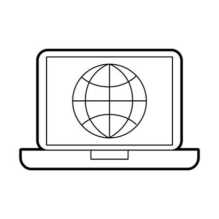 laptop business world connection digital vector illustration Illustration