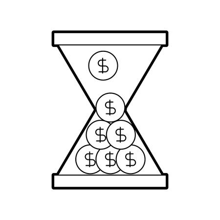 zakelijke glazen klok met geld dollar munten tijd vector illustratie