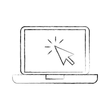 laptop technology arrow cursor point select vector illustration