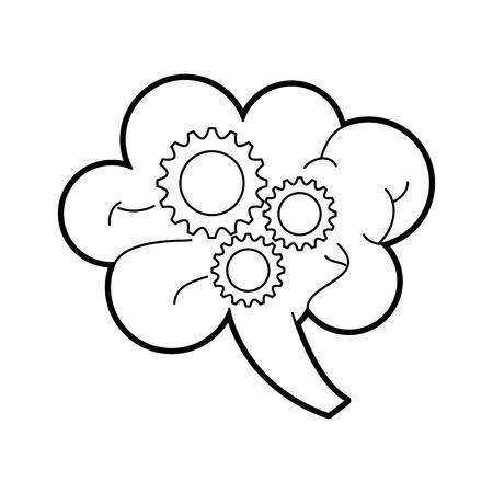 human brain and gear business work team creativity concept vector illustration