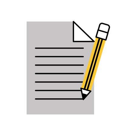 kantoor papier en potlood levering briefpapier element vectorillustratie Stock Illustratie