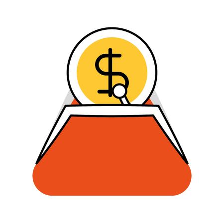 銀行財布ドルマネー通貨現金ベクトルイラスト  イラスト・ベクター素材