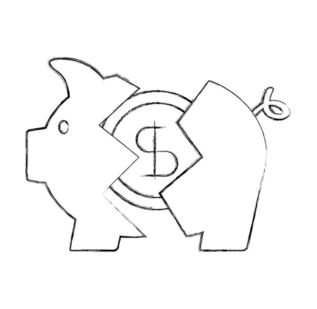 banking piggy broken coin dollar crisis vector illustration