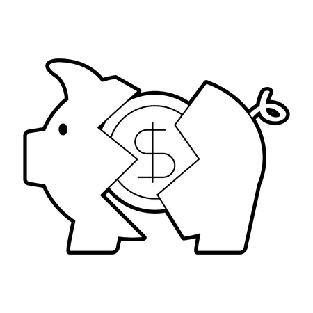 Banking Piggy Broken Münze Dollar Krise Vektor-Illustration Standard-Bild - 86383827