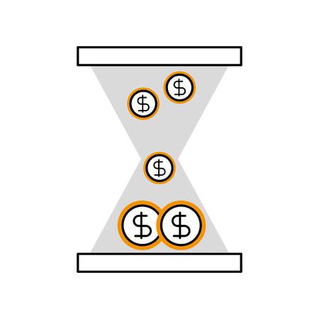 Reloj de vidrio de negocios con monedas de dólar de dinero ilustración vectorial Foto de archivo - 86383836