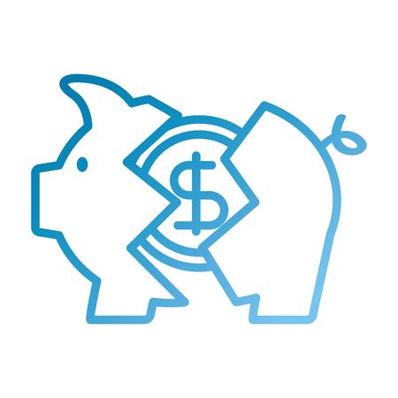 은행 돼지 동전 깨진 달러 위기 벡터 일러스트 레이션