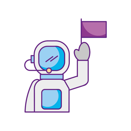 astronaut in space suit character profession mission vector illustration