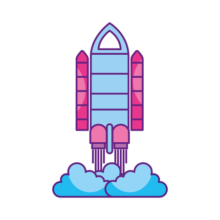 spaceship travel science exploration launch rocket vector illustration Иллюстрация