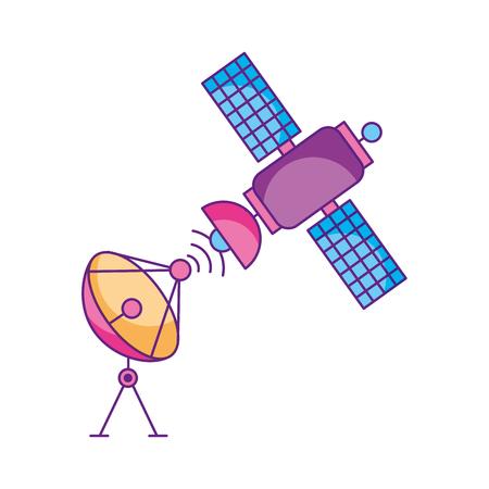 ruimte satelliet schotel anntena communicatie signaal netwerk vector illustratie
