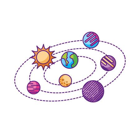 Planeta solar sistema galaxia planetas sol ilustración vectorial Foto de archivo - 86426510