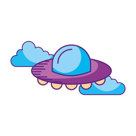 ufo 비행 구름 기술 접시 과학 기술 전송 벡터 일러스트 레이션