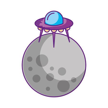 moon ufo saucer galaxy astronomy universe science vector illustration Illustration