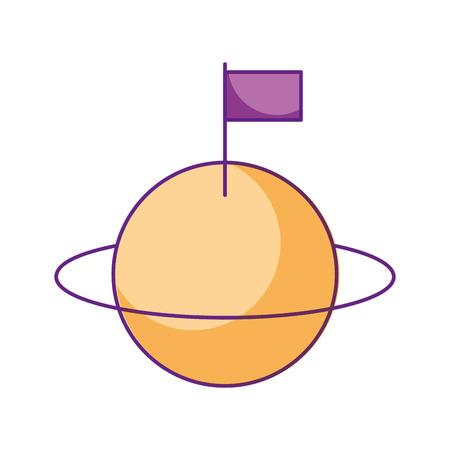space universe saturn with flag colonization vector illustration Banco de Imagens - 86426529