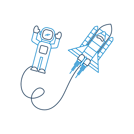 space astronaut with spaceship travel adventure exploration vector illustration