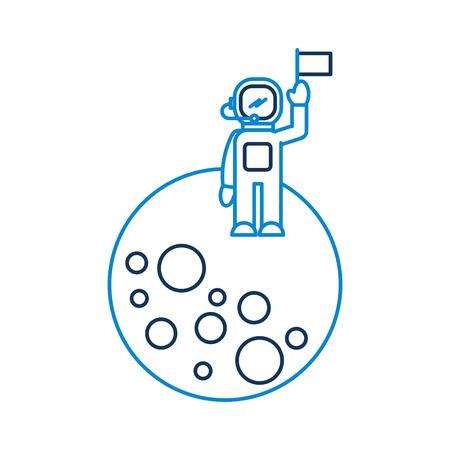 astronaut standing moon galaxy astronomy universe science vector illustration Illustration