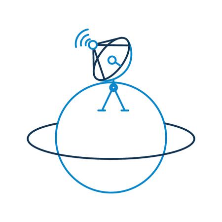 토성 위성 접시 trasnmission 신호 벡터 일러스트와 함께 행성 일러스트