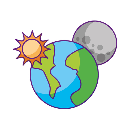 universe planet earth space vector illustration icon Иллюстрация