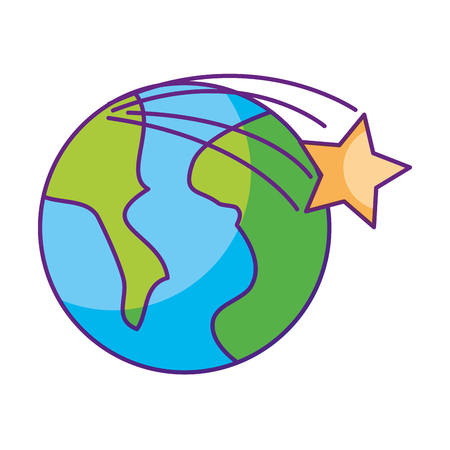 universe planet earth space vector illustration icon Çizim