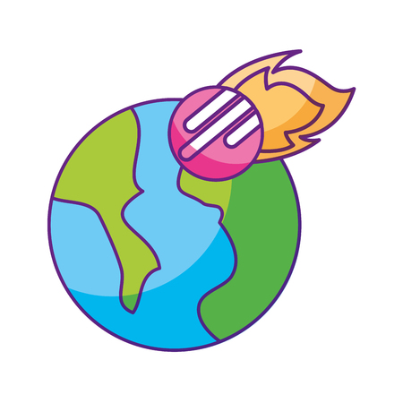 universe planet earth space vector illustration icon 向量圖像