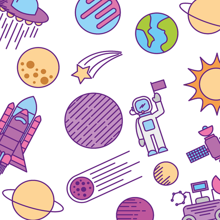 universe planet earth space vector illustration icon Ilustração