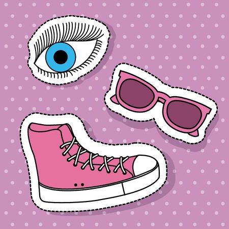 pink sport boot sunglasses and eye fantasy elements vector illustration Reklamní fotografie - 86426605
