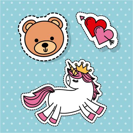 cute fantasy unicorn bear love heart sticker vector illustration