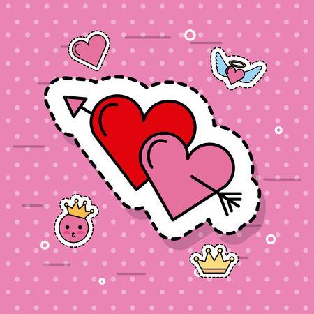 2 つのハート ピアス一緒に矢印素敵なロマンチックなかわいいベクター イラスト