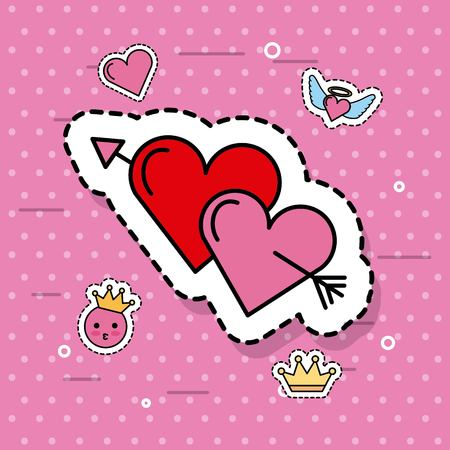 two hearts pierced together by arrow lovely romantic cute vector illustration