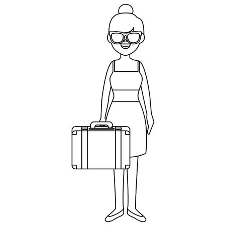 Belle fille avec valise illustration vectorielle conception Banque d'images - 86426616