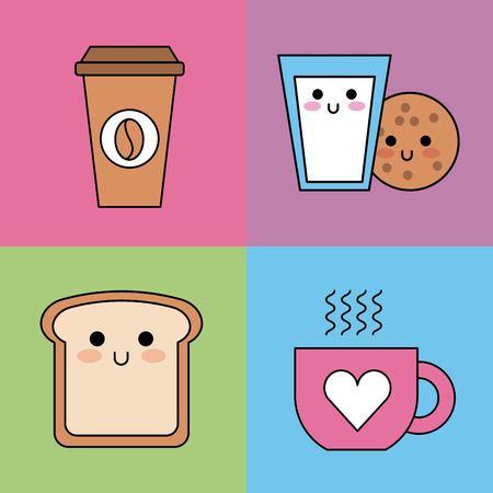 kawaii stel pictogrammen ontbijt koffie koekje melk vectorillustratie