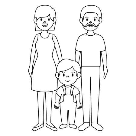 parent couple with son avatars characters vector illustration design