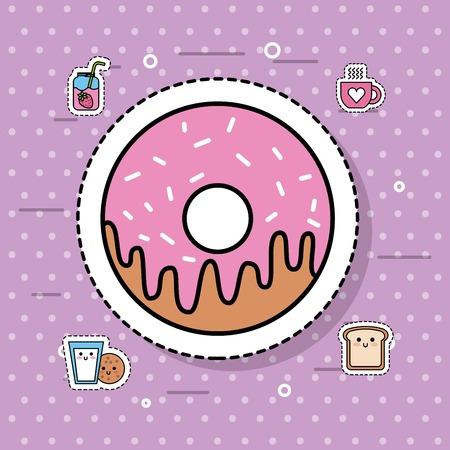 달콤한 도넛 디저트 빵집 음식 맛있는 벡터 일러스트
