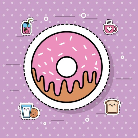 sweet donut dessert bakery food delicious vector illustration