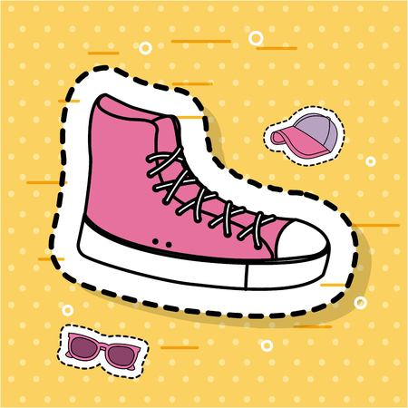 pink sneaker sport accessory icons sticker vector illustration