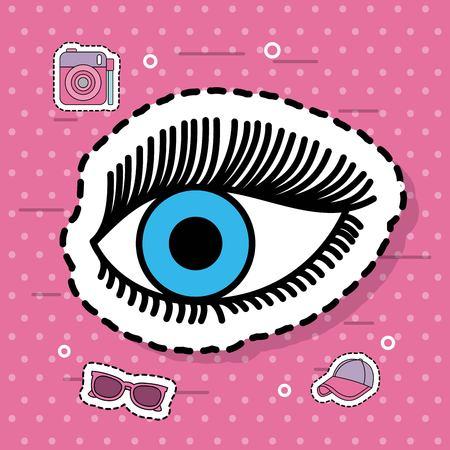 カメラ メガネ キャップ ステッカー ベクトル図で青い目のビジョン  イラスト・ベクター素材