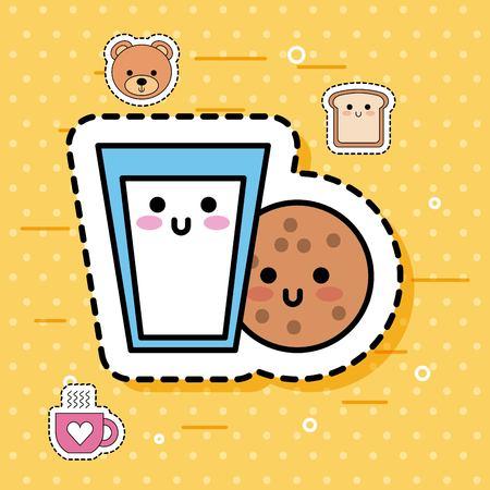 kawaii cookie glass milk breakfast sweet fantasy vector illustration