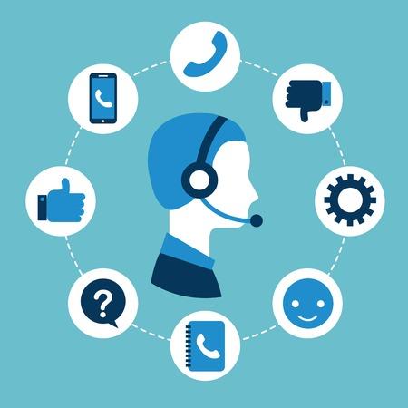 ヘッドフォンのベクトル図を身に着けている顧客サービス コール センターのオペレーター