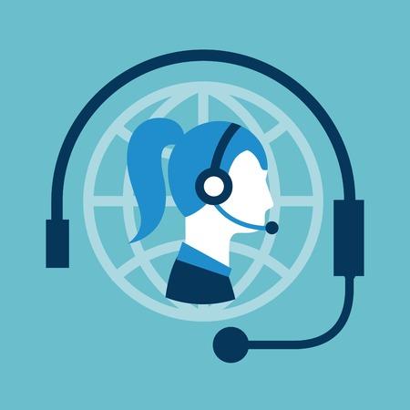 Illustrazione di vettore della cuffia dell'operatore di call center di servizio di assistenza al cliente Archivio Fotografico - 86426669