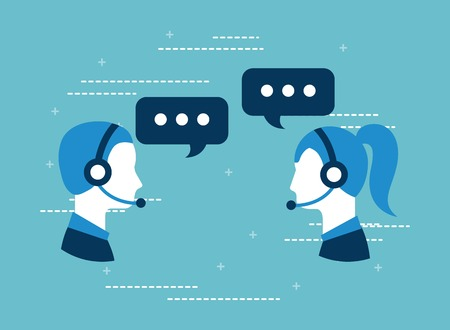 customer service call center operator wearing headphone vector illustration