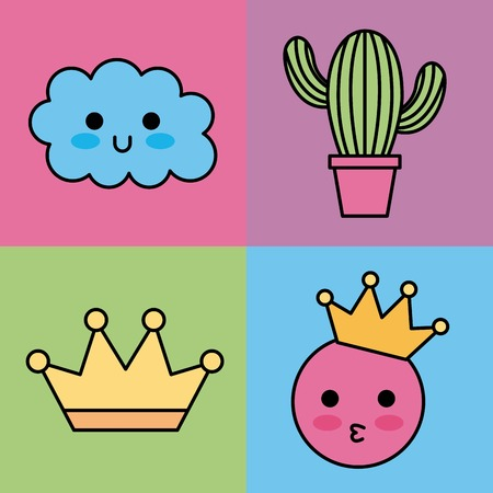 kawaii set icons fantasy decoration stickers vector illustration