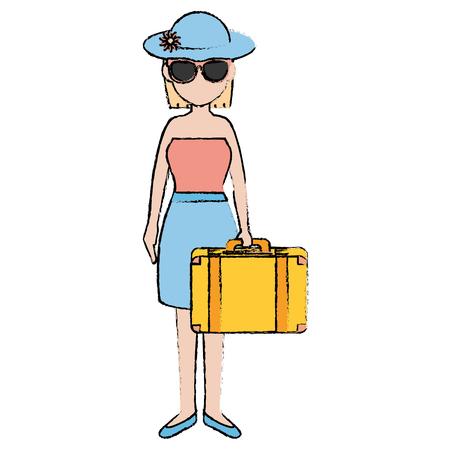 Hermosa chica con maleta ilustración vectorial de diseño Foto de archivo - 86426740