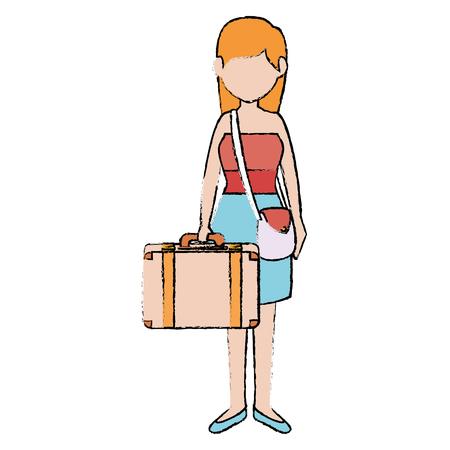 Belle fille avec valise vector illustration design Banque d'images - 86426741