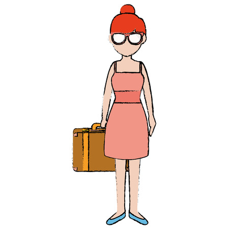 Belle fille avec valise vector illustration design Banque d'images - 86426748