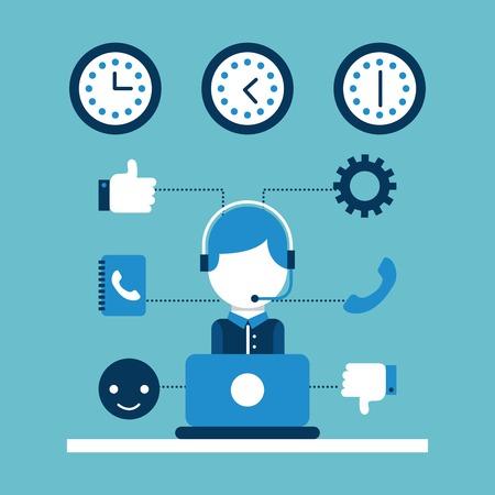 customer service call center operator wearing headphone vector illustration