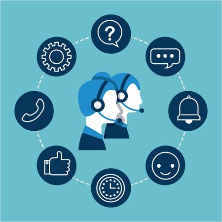 operador de call center operador de servicio al cliente usando la ilustración vectorial